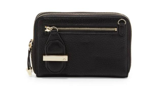 Item - Black and Gold Double Zip Mini Leather Wallet