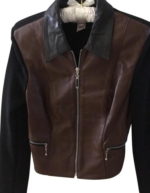 Item - Dark Brown and Black Combination with Silver Zips. Women's Jacket Size 2 (XS)