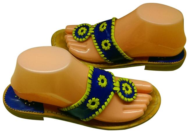 Item - Navy Blue W/Yellow Accents Leather Woman's Eco Flat Dress Casual Walking Sandals Size US 7 Regular (M, B)
