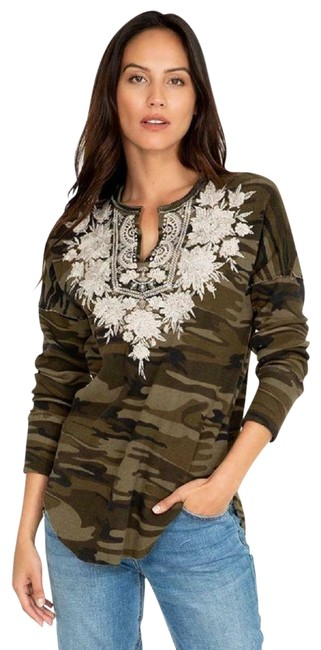 Item - Christina Waffle Embroidered Blouse Tunic Green Camouflage Sweater