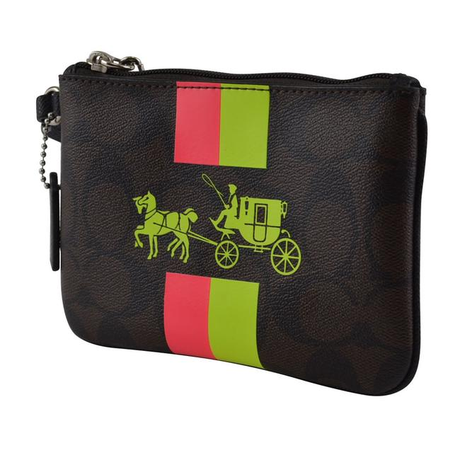 Item - Signature Pvc Horse & Carriage Stripe Brown Coated Canvas Wristlet