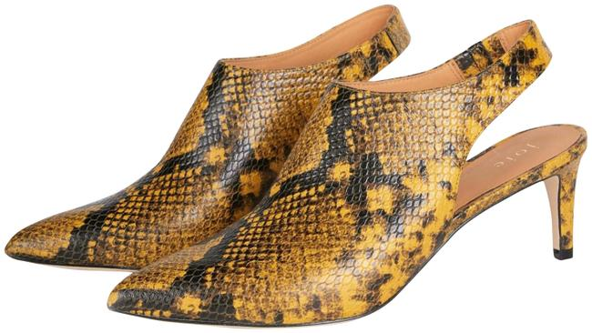 Item - Mustard/Black Rines Snake-embossed Leather Ankle Boots/Booties Size EU 37 (Approx. US 7) Regular (M, B)