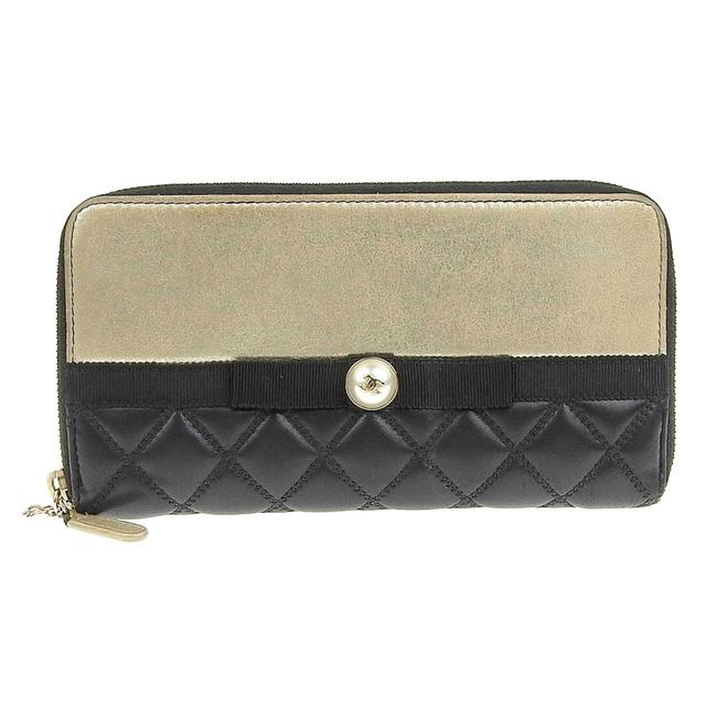 Item - Black / Gold Long Round Zipper Pearl Leather Wallet