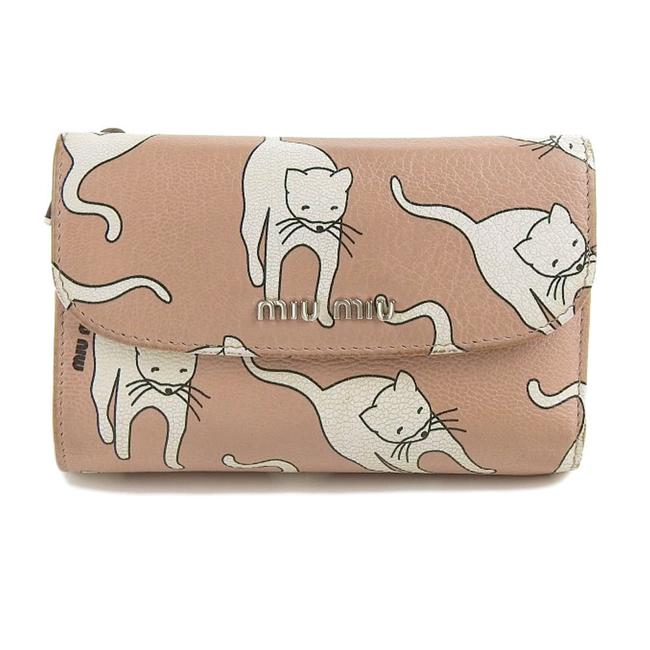 Item - Pink / White Cat Pattern with Hook Tri-fold Leather Wallet
