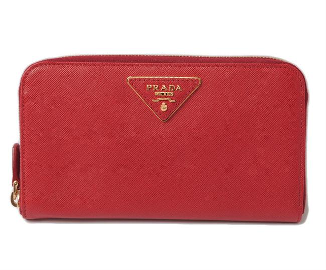 Item - Fuoco / Red Long 1m0506 Saffiano Traiang Embossed Leather System Outlet Wallet
