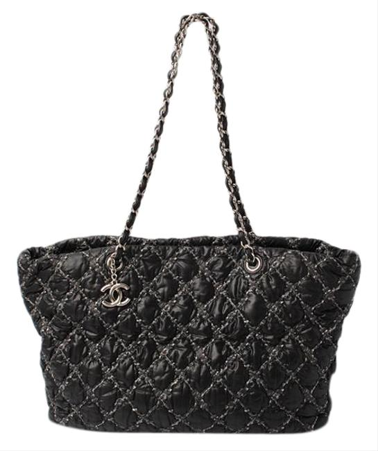 Item - Paris Bisons Chain Quilted Smtb-tk Black / Silver Nylon / Leather Shoulder Bag