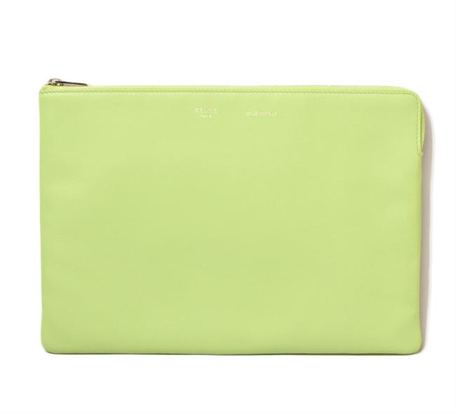 Item - Pouch Ipad Case Light Green Leather Clutch