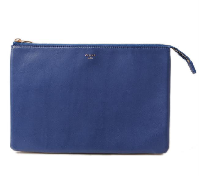 Item - Bicolor Pouch Beige / Blue Leather Clutch
