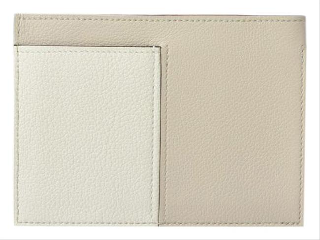 Item - White Card Case Business Holder Necto Leather Bicolor Cappuccino Wallet