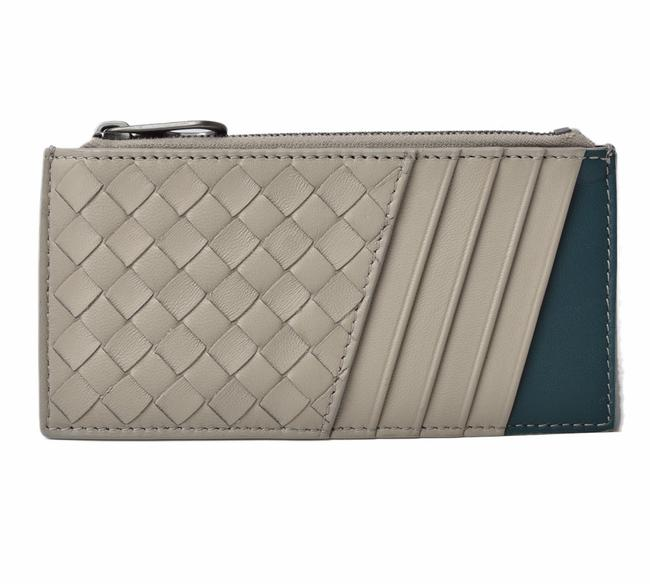 Item - Gray / Green Card Case Coin Intrecciato Leather 515284 Wallet