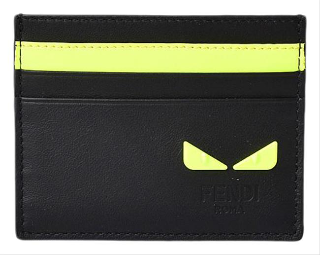 Item - Black Card Case Business Holder Leather I See You Fluo Yellow 7m0164 Wallet