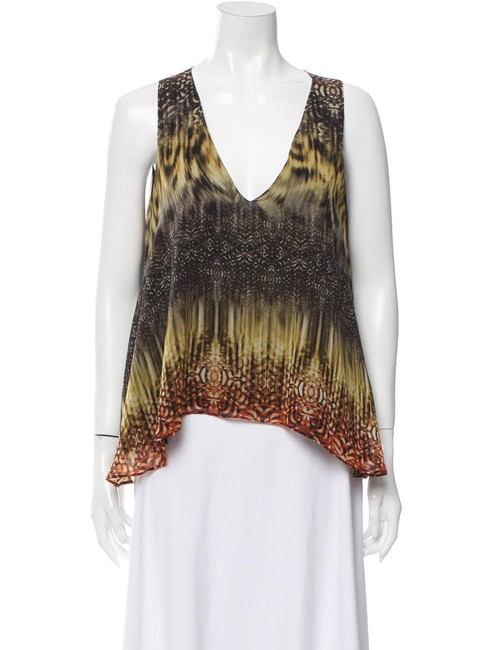 Item - Multicolor Printed Silk Sleeveless V-neck Large Blouse Size 12 (L)