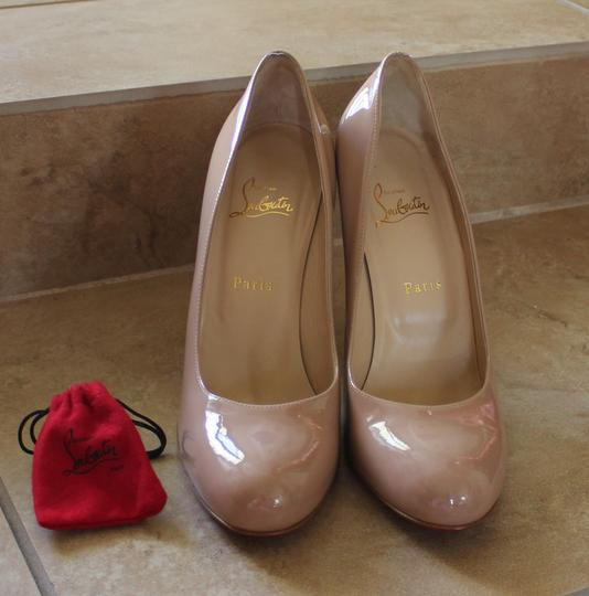 Christian Louboutin Nude Tan Patent Leather Stiletto Beige Pumps