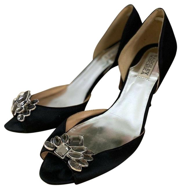 Badgley Mischka Ivory Black Satin with Super Nice Rhinestone Accents Pumps Size US 8 Regular (M, B) Badgley Mischka Ivory Black Satin with Super Nice Rhinestone Accents Pumps Size US 8 Regular (M, B) Image 1