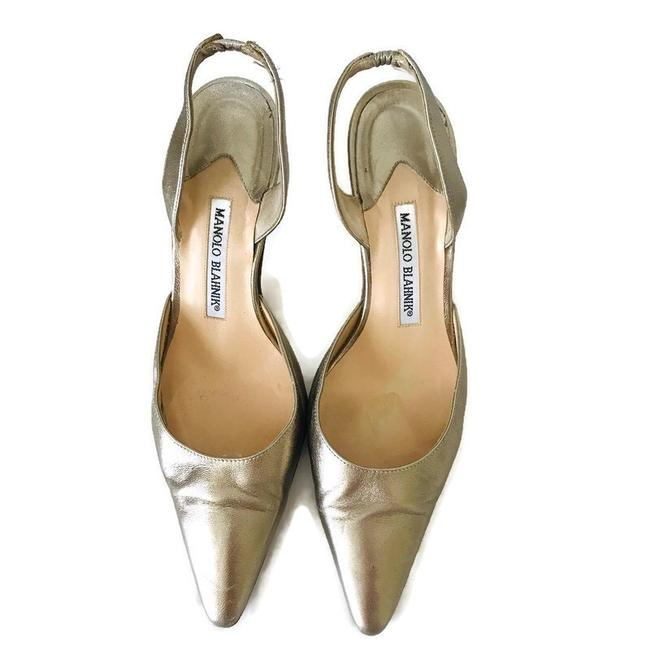 Item - Gold Carolyne Leather Heels Wedges Size US 7 Narrow (Aa, N)