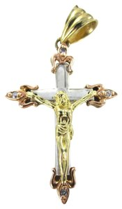 vintage 14KT YELLOW ROSE WHITE GOLD PENDANT CRUCIFIX CHRIST JESUS THREE TONE DIAMOND