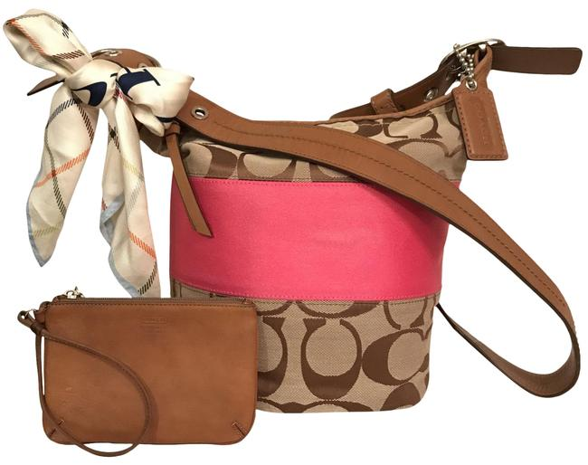 Item - Shoulder Duffle Bucket Signature Stripe Rugby F13362 & Scarf & Leather Wristlet Brown Beige Pink Canvas Cross Body Bag