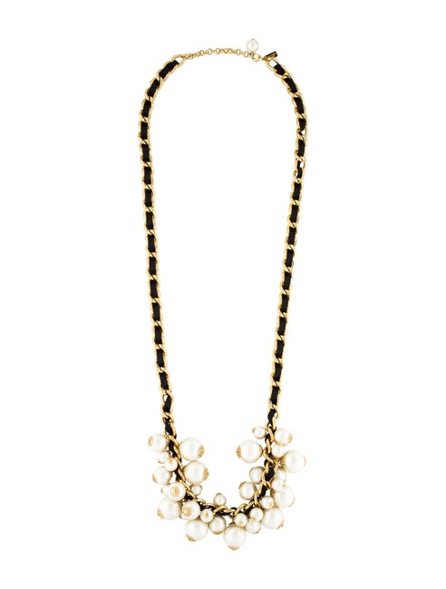 Item - 12k Gold Plate and Pearl New Moon River Necklace