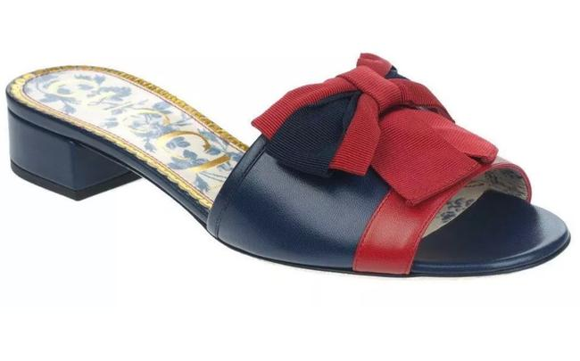 Item - Blue and Red New Current Navy Leather Bow Low Heel Slide 39.5 Sandals Size US 9.5 Regular (M, B)