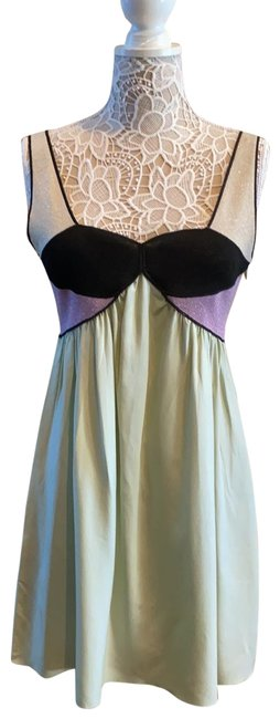 Item - Foam Green with Lavender Black and Beige Short Cocktail Dress Size 6 (S)