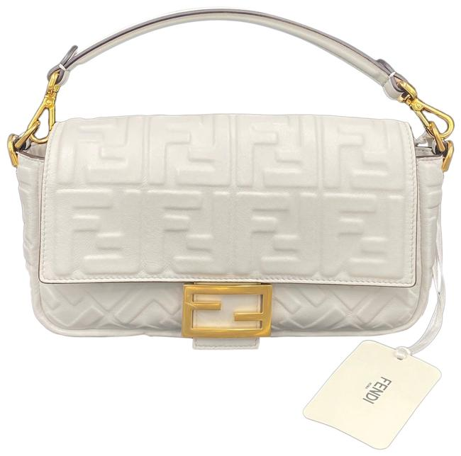 Item - Iconic Medium White Lambskin Leather Baguette