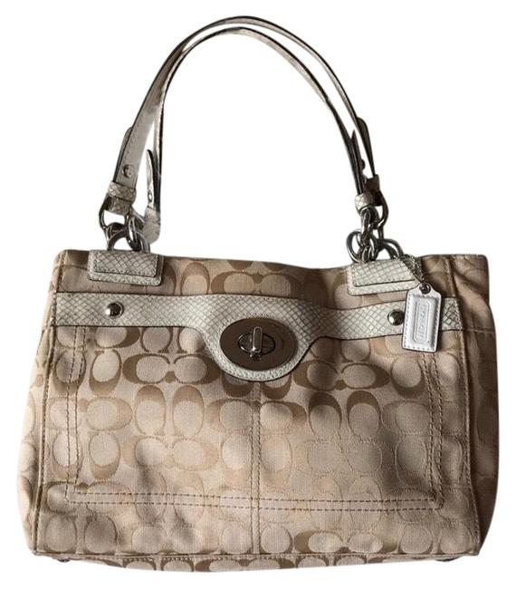 Item - Carry All Penelope with Matching Wallet Cream and Tan Canvas Satchel