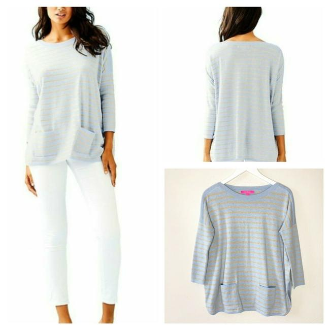 Item - Cobo In Coastal Shell Stripe Light Blue & Gold Sweater