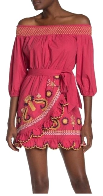 Item - Pink Embroidered Maida Short Casual Dress Size 00 (XXS)