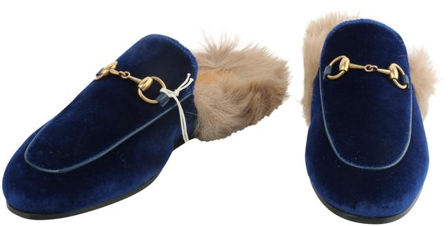 Item - Blue Horsebit Princetown Slippers In and Fur with Bronzed Flats Size EU 35.5 (Approx. US 5.5) Regular (M, B)