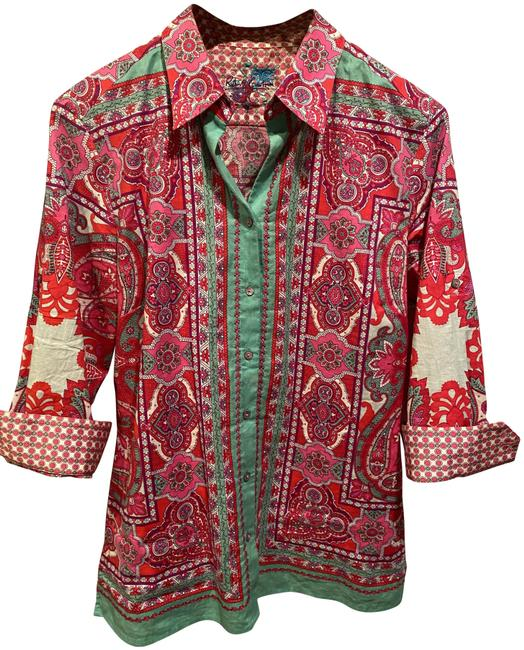 Item - Pink Turquoise Moroccan Print Embroidered Button-down Top Size Petite 4 (S)