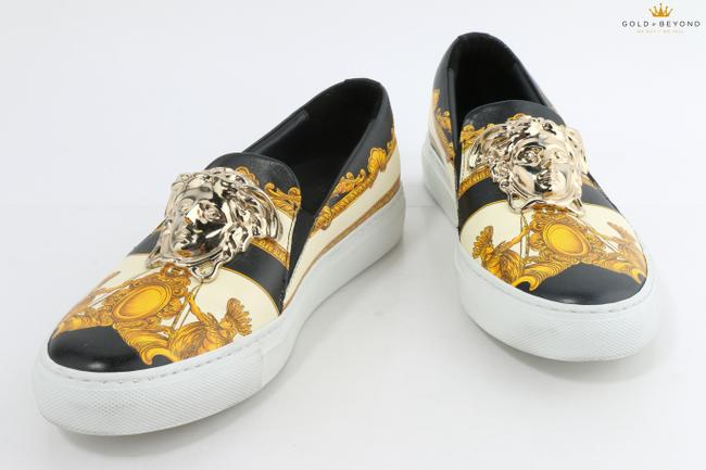 Item - Black/Gold Baroque Print with Medusa Head Slip-on Sneakers Shoes