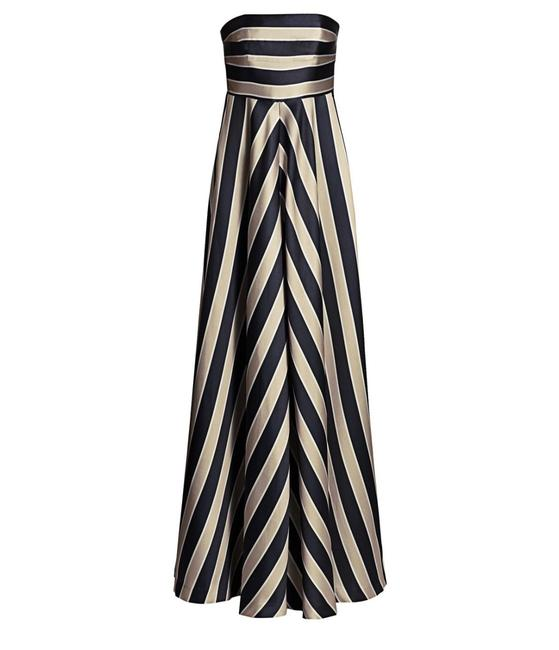 Item - Black and White Striped Strapless Gown Long Formal Dress Size 2 (XS)