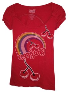 Coca-Cola Vintage Summer Cherries T Shirt Official Coca-Cola Cherry Rainbow Red T-Shirt