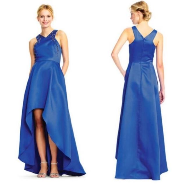 Adrianna Papell Blue High Low Ball Gown Bead Embellished Halter Neckline Long Formal Dress Size 8 (M) Adrianna Papell Blue High Low Ball Gown Bead Embellished Halter Neckline Long Formal Dress Size 8 (M) Image 1