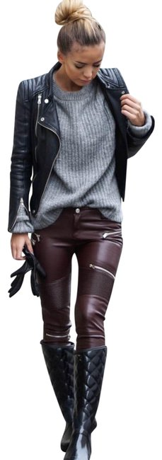 Item - Red W Faux Leather Moto Biker Pants W/ Zippers Burgundy Color Bnwt Skinny Jeans Size 8 (M, 29, 30)