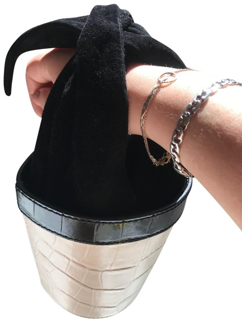 Item - Bucket Bag Black and White Leather Clutch