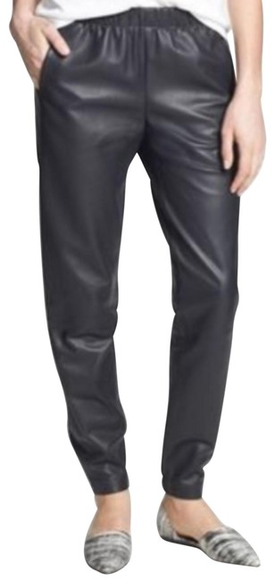 Vince Black Lambskin Leather Jogger Pants Size 0 (XS, 25) Vince Black Lambskin Leather Jogger Pants Size 0 (XS, 25) Image 1