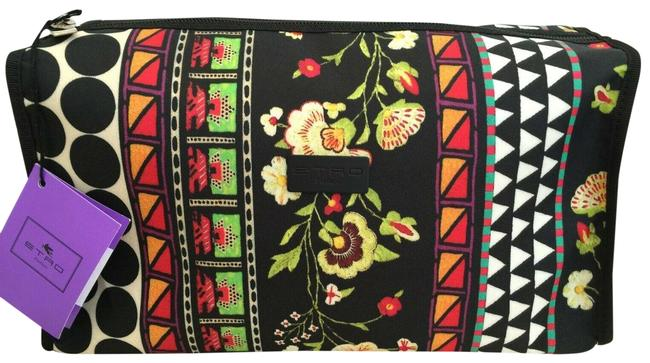 Item - Black/Multi Clutch Italy Lrg Toiletry Up Travel Beige Cosmetic Bag