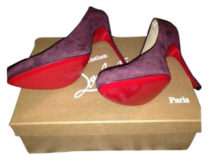 Christian Louboutin Cute Stylish Party Work Suede Plum Pumps