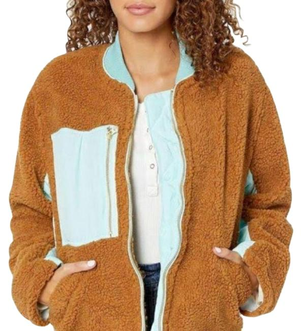 Free People Brown Teal Faux Shearling Jacket Coat Size 6 (S) Free People Brown Teal Faux Shearling Jacket Coat Size 6 (S) Image 1