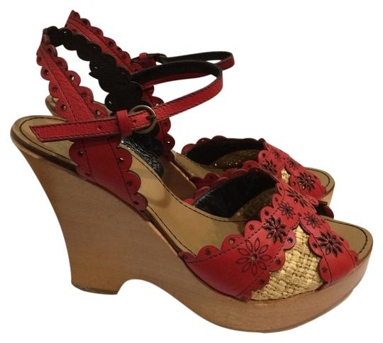 Moschino Red Wedges
