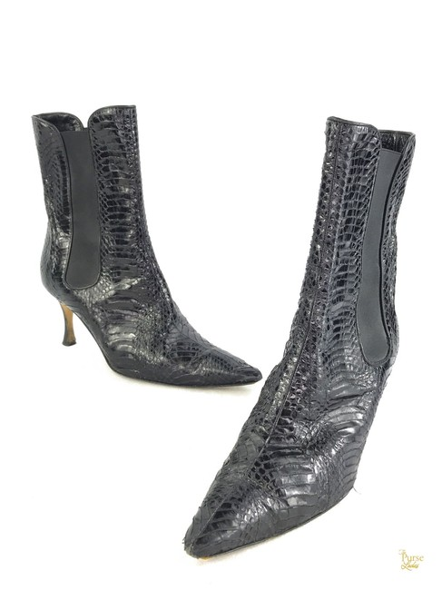 Item - Black Snakeskin Pull On Ankle #29073 Boots/Booties Size EU 39.5 (Approx. US 9.5) Regular (M, B)