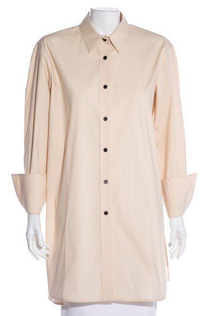 Item - Cream Long Sleeve Button-up Blouse Size 6 (S)