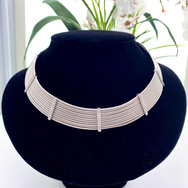 Item - White Gold Round Brilliant 1.75 Tcw 18kt Cable Design Choker Necklace