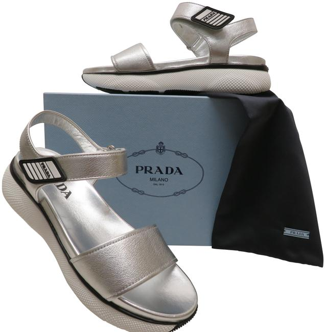 Item - Silver Textured Leather Logo Ankle Strap Platform Italy Sandals Size EU 39.5 (Approx. US 9.5) Regular (M, B)