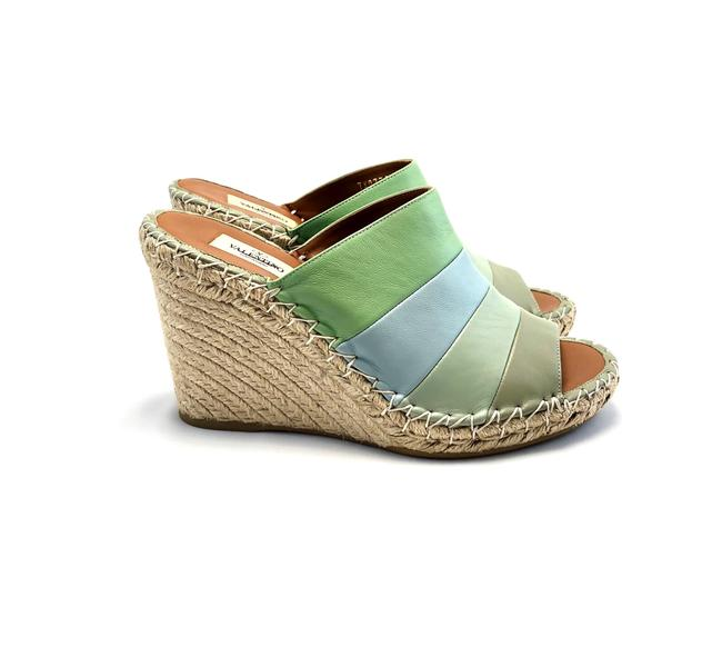 Item - Green Striped Leather Wedge Sandals Mules/Slides Size EU 39 (Approx. US 9) Narrow (Aa, N)