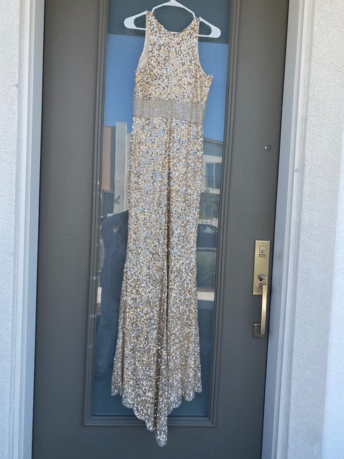 Sequin, crystal, fringe prom gown.
