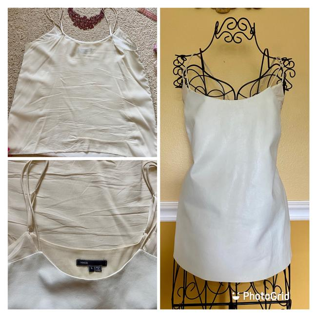 Vince Ivory White Leather and Silk Camisole Tank Top/Cami Size 12 (L) Vince Ivory White Leather and Silk Camisole Tank Top/Cami Size 12 (L) Image 5