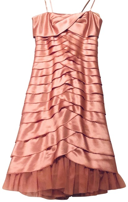 Item - Pink Satin Tiered Strapless Mid-length Cocktail Dress Size 2 (XS)