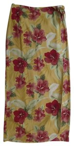 Tommy Bahama Sarong Wrap 100% Silk Maxi Skirt Yellow